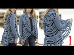 كروشيه كارديجان صيفي و شتوي ج1 Crochet cardigan for winter and summer part 1 - YouTube