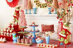 What a fun display at a North Pole Elf party!  See more party ideas at CatchMyParty.com!  #partyideas #christmas