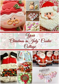 Christmas in July Cookie Collage-A Fun New Tradition Featuring YOUR Cookies Christmas Cookies Gift, Christmas Snacks, Christmas In July, Christmas Baking, Holiday Fun, Beach Christmas, Holiday Baking, Holiday Decor, Halloween Apples