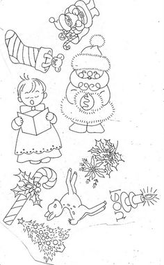 cute free holiday embroidery patterns - Wendy Schultz ~ Colouring In Pages. Christmas Embroidery Patterns, Hand Embroidery Patterns, Vintage Embroidery, Embroidery Applique, Cross Stitch Embroidery, Machine Embroidery, Embroidery Designs, Embroidery Sampler, Embroidery Thread