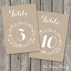 Printable Table Number for Weddings - Kraft Rustic Table Number - Laurel Flower Wedding Reception Decor - Country Outdoor Wedding - TN02