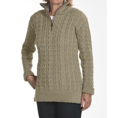 Peregrine by J.G. Glover Cardigan Sweater - Peruvian Merino Wool, Zip Neck (For Women) in Taupe  I like the style but not the color