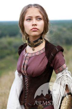 "Medieval Brown Natural Suede Boned Bodice Corset ""Archeress"" medieval fairy renaissance elven Love this."