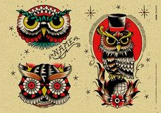 Old School Owl Tattoos Set                                                                                                                                                      Más