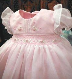 Will'beth Pink Sheer Overlay Smocked Dress Baby Girls Pearls Newborn