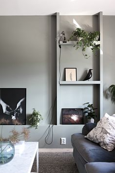 A Scandinavian Apartment Redecorated In Darker Tones (Gravity Home) Home Living Room, Living Room Decor, Living Spaces, Room Inspiration, Interior Inspiration, Gravity Home, Grey Room, Built In Storage, My New Room