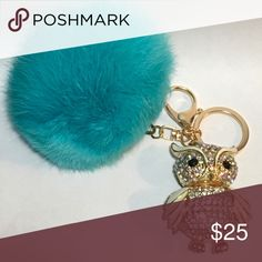 """Turquoise Rabbit Fur Purse Pom w/Gold Crystal Owl Large 3.5"""" Turquoise Rabbit Fur Purse 👛 Pom with Gold Crystal Moving 3D Owl 2""""x2.5"""" Keychain. Bit of Heaven Bags"""