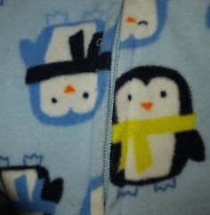 Carters 3T Boys Sleeper Blue Fleece Zipper Footed Pajamas Penguin  Print Sleeper #Carters #OnePiece
