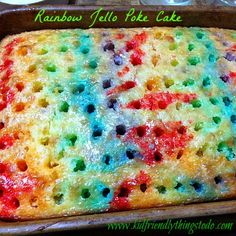 Rainbow Jello Poke Cake Recipe {You Can Change Easily Transform with Any Flavor Jello} remember making the Jello rainbow cakes?remember making the Jello rainbow cakes?