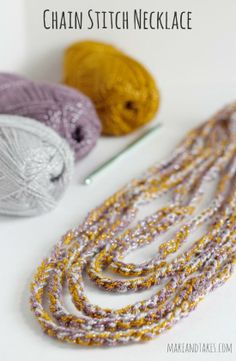 Crocheting a Chain Stitch Necklace @Make and Takes.com #crochetaday