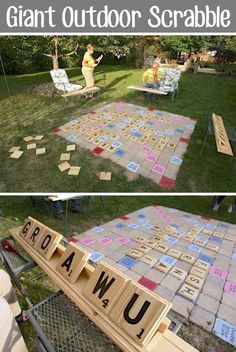 32 Of The Best DIY Backyard Games You Will Ever Play -- GIANT outdoor scrabble. Yes, please. Made with craft-store wood plaques and pavers.