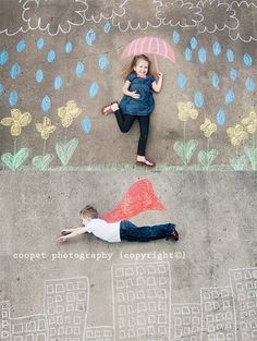 This is a cute idea! Sidewalk chalk portraits. :-)