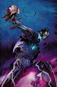 Tony Stark: Iron Man by Alexander lozano * Marvel Villains, Marvel Heroes, Marvel Dc, Ultron Marvel, Age Of Ultron, Ultron Comic, Comic Book Covers, Comic Books Art, Comic Art