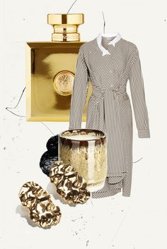 GOLD RUSH: 11 items for a Look with a touch of Gold! With & Other Stories x Shoplifter golden nugget earrings, Vetements x Manolo Blahnik signature pumps, Isabel Marant cropped nude sweater and Versace Perfume. More on www.thedashingrider.com