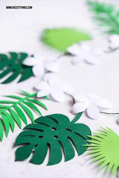 Freebie Printable Template Monstera Exotic Leaf Garland