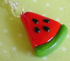 Items similar to Clay Miniature Food Watermelon Fruit Polymer Clay Necklace Food Jewelry on Etsy Diy Earrings Polymer Clay, Cute Polymer Clay, Fimo Clay, Polymer Clay Projects, Polymer Clay Charms, Polymer Clay Creations, Handmade Polymer Clay, Clay Crafts, Clay Figurine