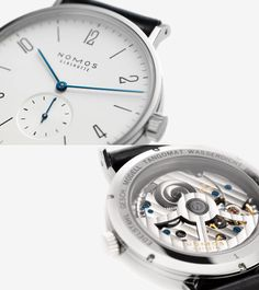 NOMOS Glashuette – Tangomat.  Tangomat is the name of Tangente's cousin, which came on the market in 2005. Basically, the face and the case are the same as the Tangente, just somewhat larger. The significant difference, however, is that the movement of the Tangomat is not hand-wound, but automatic.