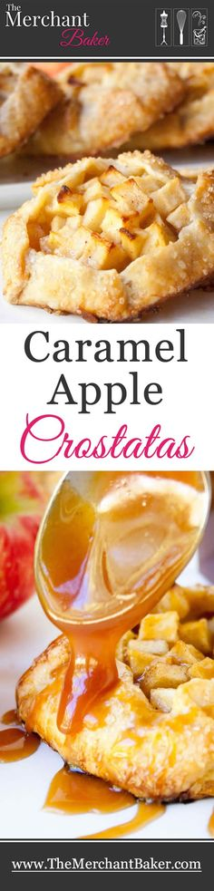 """Caramel Apple Crostatas. Mini apple """"tarts"""" made with my super easy all butter pie dough, then drizzled with warm salted caramel sauce!"""