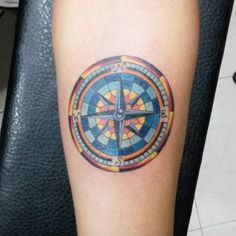 Stained Glass Anchor Tattoo