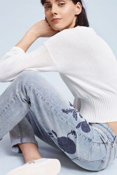 Anthropologie Pilcro embroidered jeans