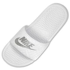 nike benassi JDI white slide sandal Women s White metallic silver Nike  Slide Sandals 4c01d01f2b