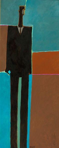 """Wayne Salge """"Suit Up"""" 61"""" x 25"""" Acrylic"""