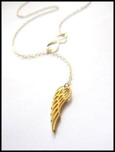 Angel Wing and Infinity Lariat new design gold by Keepitclose, $36.85
