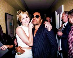 Jennifer Lawrence & Lenny Kravitz.