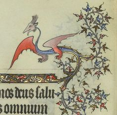 Border Dragon from Horae ad usum Parisiensem [Grandes Heures de Jean de Berry]. c. 1400-10.