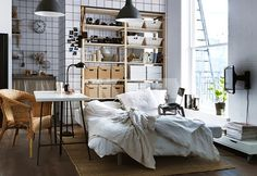 Ikea Small Apartment in an open studio or loft, curtains can help create privacy and
