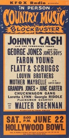 Johnny Cash - Country Night At The Bowl - 1963 - With Loretta Lynn, George Jones, The Louvin Brothers, Flat & Scruggs - Past Daily Pop Chronicles Old Country Music, Country Music Artists, Old Music, Country Music Stars, Country Singers, Outlaw Country, Music Mix, Johnny Cash, Johnny And June