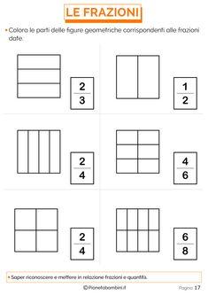 Spiegare le Frazioni ai Bambini con Esercizi Semplici   PianetaBambini.it Math 2, Math Fractions, Preschool Math, Teaching Math, Mathematics, Worksheets, Math Assessment, Alphabet, Activities