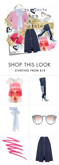 A fashion look from October 2015 featuring white crew neck t shirt, blue midi skirts and denim thigh-high boots. Browse and shop related looks. Denim Heels, Perfect Wardrobe, Whistles, Thigh Highs, Nars Cosmetics, Neck T Shirt, Fashion Outfits, Fashion Trends, Midi Skirt