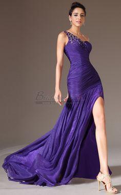 #bridesmaiddresses Long One Shoulder Silk Like Chiffon Regency Mermaid Bridesmaid Dress JT-CA1326