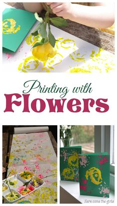 Printing with flowers - fun process art for kids Art Activities For Toddlers, Painting Activities, Fun Crafts For Kids, Craft Activities, Preschool Crafts, Projects For Kids, Crafts To Make, Art For Kids, Art Projects