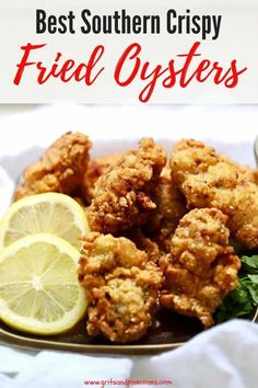 Quick and easy Best Southern Crispy Fried Oysters, with their delectable crunchy cornmeal coating are tasty briny bivalves, which taste just like the sea. In this easy recipe, raw oysters are soaked in buttermilk and dredged in a cornmeal mixture, then fr Fish Recipes, Seafood Recipes, Gourmet Recipes, Cooking Recipes, Healthy Recipes, Cooking Kale, Cooking Pumpkin, Cooking Light, Cooking Steak