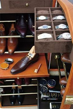 Great way to organize your shoes, watches, and the rest of your wardrobe. #mensfashion #mensaccessories #menswear