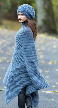 HANIA Multi-Stitch Poncho HANIA by Anya Cole Fall 2016