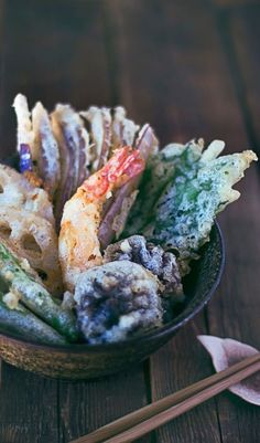 TEMPURA TENDON aka TEN DON ~~~ tendon = tempura that has been quick-heated-soaked in the dipping sauce and placed over a bowl of rice or simply drenched with the heated dipping sauce after being placed over a bowl of rice (you can use freshly made tempura or leftovers). don't blow off trying this different twist on the standard presentation of tempura. i purposely make extra tempura to keep overnight in the fridge just for this dish. it is no less than amazing... i promise :-) recipe…