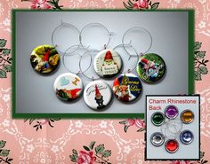 I Love Garden GNOMES Set of 6 Altered Art Button WINE by Yesware11