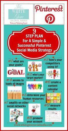 Infographics: 9 STEP PLAN FOR A SIMPLE  SUCCESSFUL PINTEREST SOCIAL MEDIA STRATEGY » White Glove Social Media Marketing