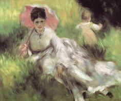 ルノアール 1874-76 日傘の女と子供 ボストン美術館
