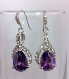 Purple Amethyst Bridal Earrings, Cubic Zirconia Earrings, Bridesmaid Earrings, Swarovski Crystal Jewelry, Teardrop Jewelry, TWIRL on Etsy, $49.00