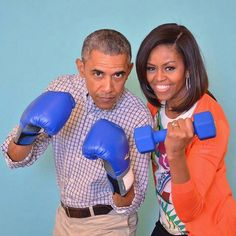 """The family that gets fit together, stays together. OR """"I pity the fool that tries to date Malia orSasha"""""""