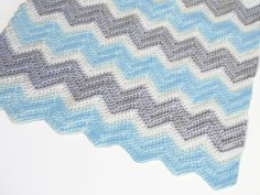 Crochet chevron baby blanket in blue white and light by PinkyRoo, $55.00