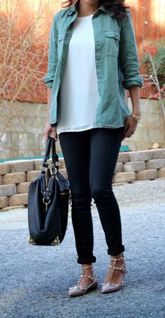 olive workshirt paired with valentinos