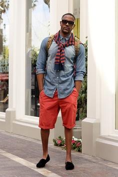 Coral shorts: yes! Denim shirt: no.