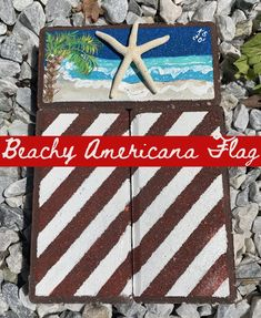 Beachy Americana Flag - lovemycottage Red And White Stripes, Blue And White, Palmetto Leaf, Pool Steps, Apple Barrel, Brick Pavers, Island Beach, Beach Scenes, Spring Green