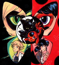 This is beautiful. I think this is one of my favourite peices of art yet. - Cat Noir, Adrien, Marienette, Ladybug, Plagg, Tikki - credit to artist