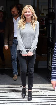 Kirsten Dunst Casual Style - Leaving the BBC Radio 2 Studio in London - May 2014